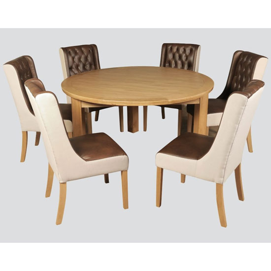 Treviso Dining Set In Solid Wood Oak With 6 Beige Fabric Chairs
