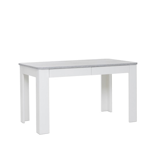 Trexus Dining Table In Structured Concrete White With 2 Drawers