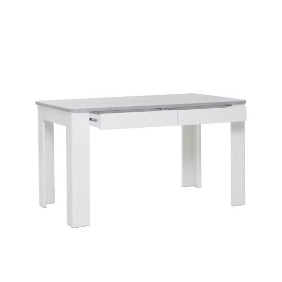 Trexus Dining Table In Structured Concrete White With 2 Drawers_2
