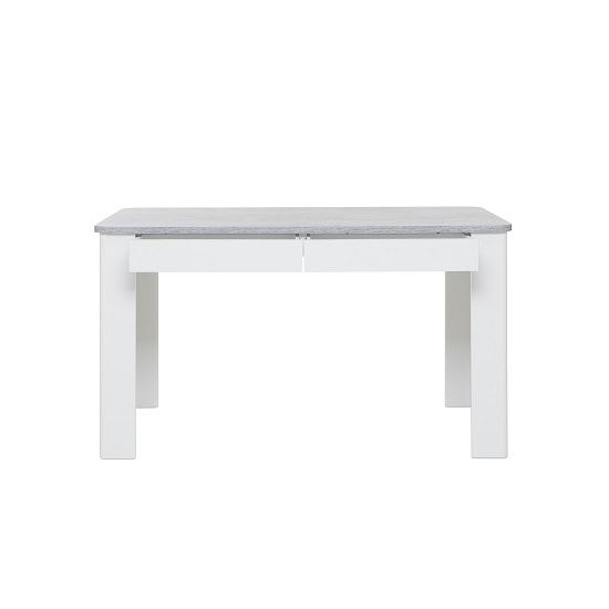 Trexus Dining Table In Structured Concrete White With 2 Drawers_3