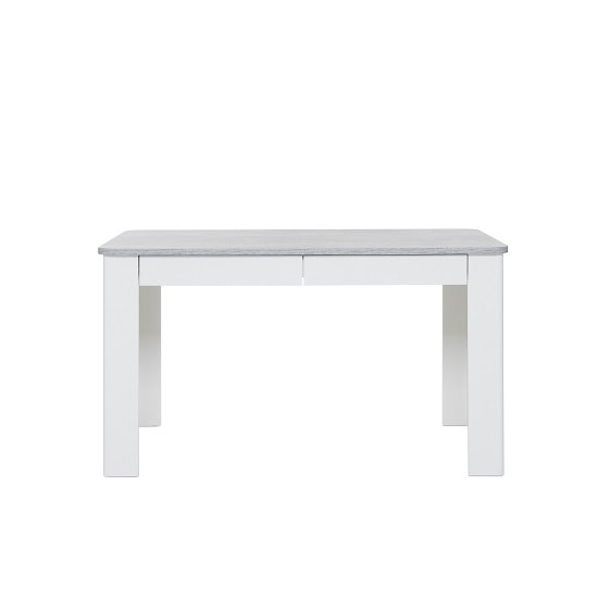 Trexus Dining Table In Structured Concrete White With 2 Drawers_4