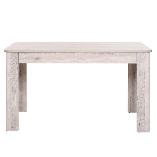 Trexus Wooden Dining Table In Sorrento Oak With 2 Drawers