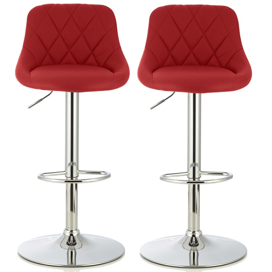 Trezzo Modern Bar Stool In Red Faux Leather In A Pair