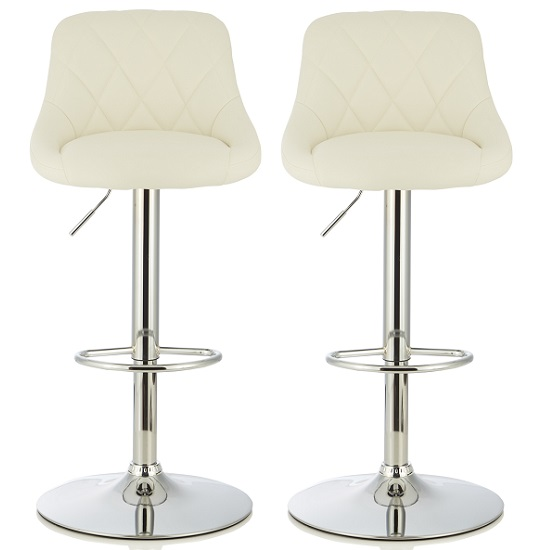 Trezzo Modern Bar Stool In White Faux Leather In A Pair