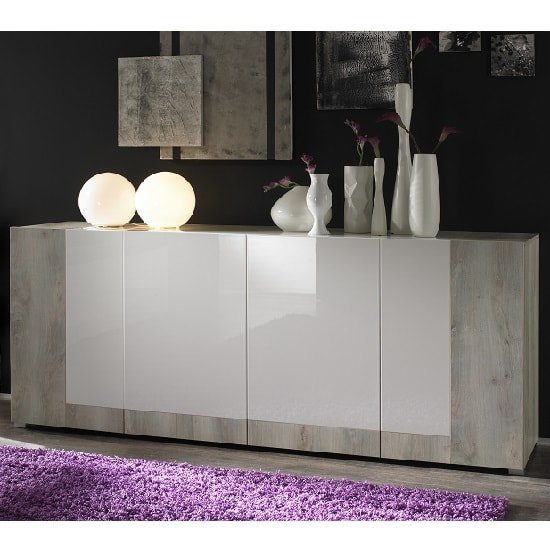 Aubrey Wooden Sideboard In White Pine And Gloss With 4 Doors
