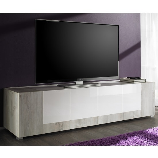 Aubrey Wooden TV Stand In White Pine And Gloss With 4 Doors