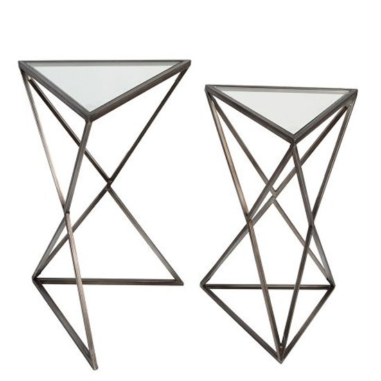View Triangle clear glass top set of 2 side tables with metal frame