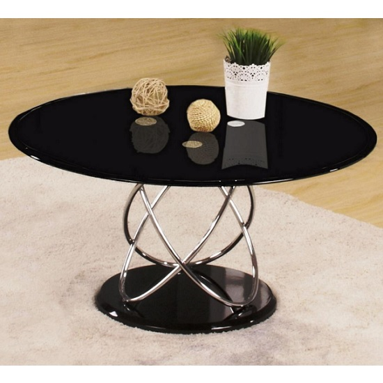 Trias Glass Coffee Table Round In Black And Gloss Base