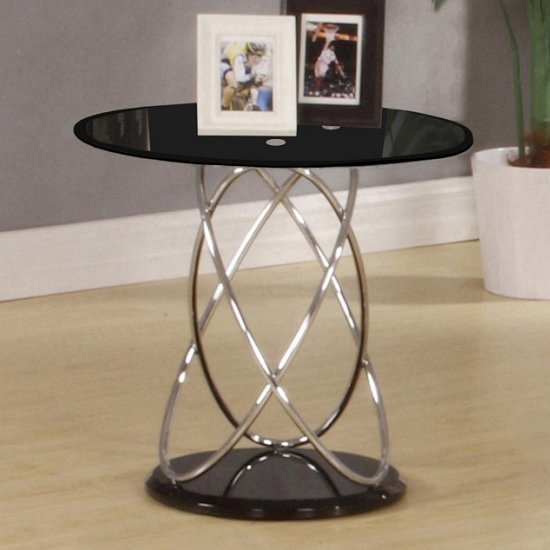 Trias Glass Lamp Table Round In Black And Gloss Base