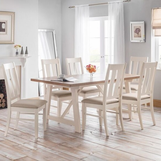 Tribeca Dining Set In Ivory Oak And Real Oak With 6 Chairs
