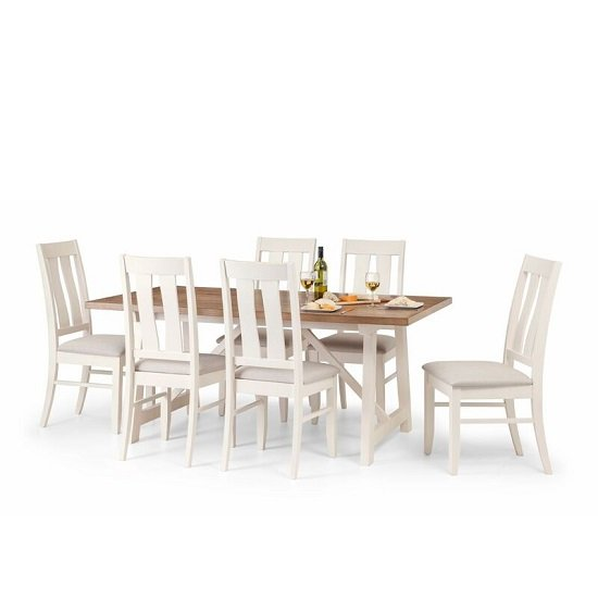 Tribeca Dining Set In Ivory Oak And Real Oak With 6 Chairs_2