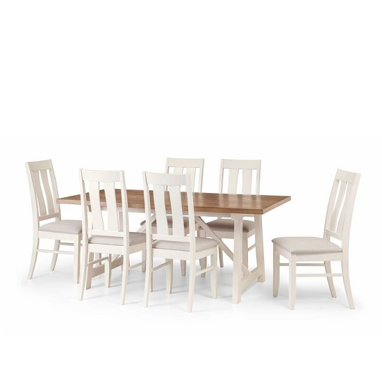 Tribeca Dining Set In Ivory Oak And Real Oak With 6 Chairs_3