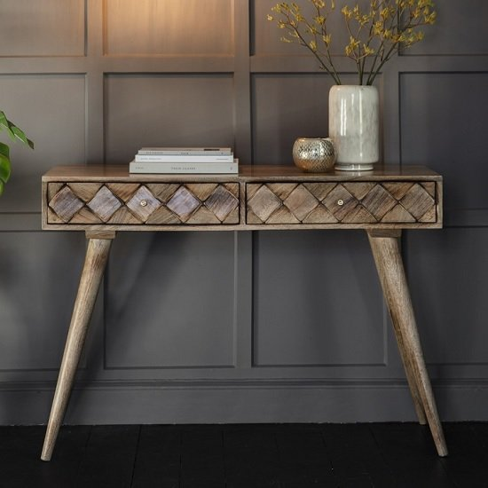 timeless design 1fa33 9986a Tribute Contemporary Console Table In Burnt Wax With 2 Drawers