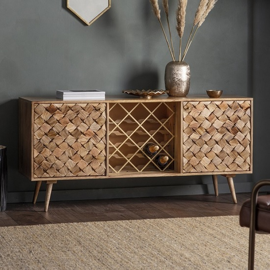 Tribute Contemporary Sideboard In Burnt Wax With 2 Doors
