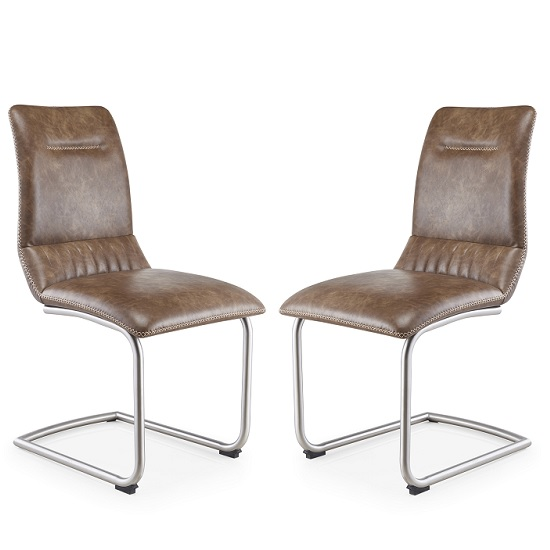 Tricia Cantilever Dining Chair In Warm Earth Leather In A Pair