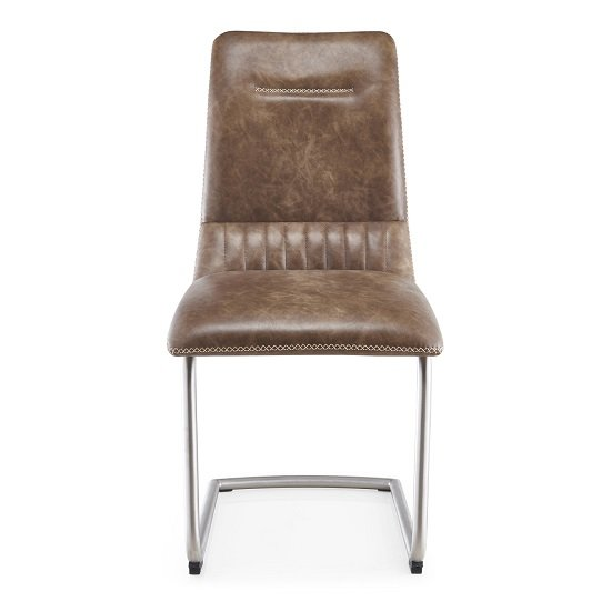 Tricia Cantilever Dining Chair In Warm Earth Leather In A Pair_2