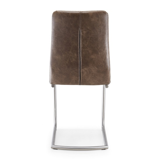 Tricia Cantilever Dining Chair In Warm Earth Leather In A Pair_3