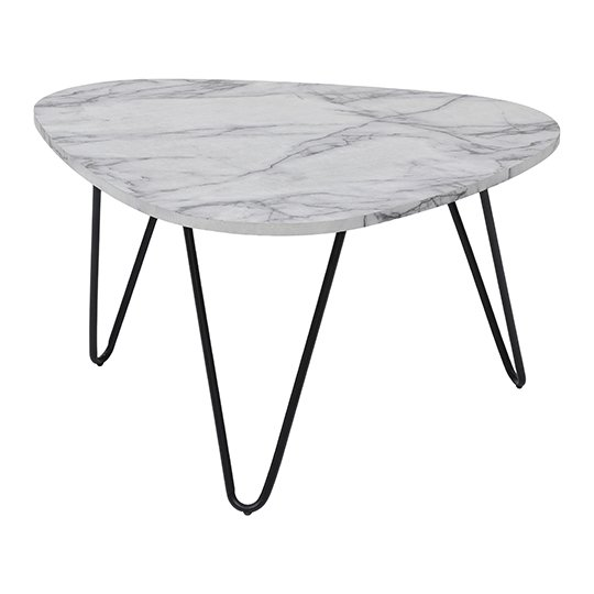 Trieste Coffee Table In Marble Effect With Black Legs