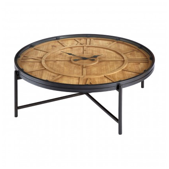 Trigona Glass Round Clock Coffee Table With Black Metal Legs