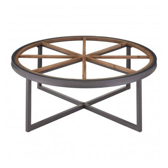 Trigona Round Glass Top Coffee Table With Black Metal Legs
