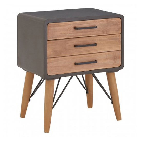 Trigona Wooden 2 Drawers Side Table In Natural