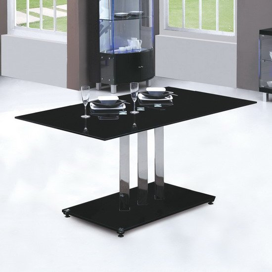Trilogy Black Glass Dining Table