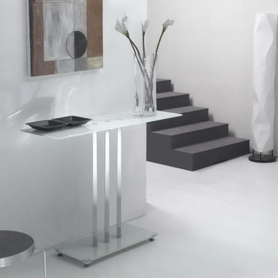 Room furniture console tables trilogy glass console table in white