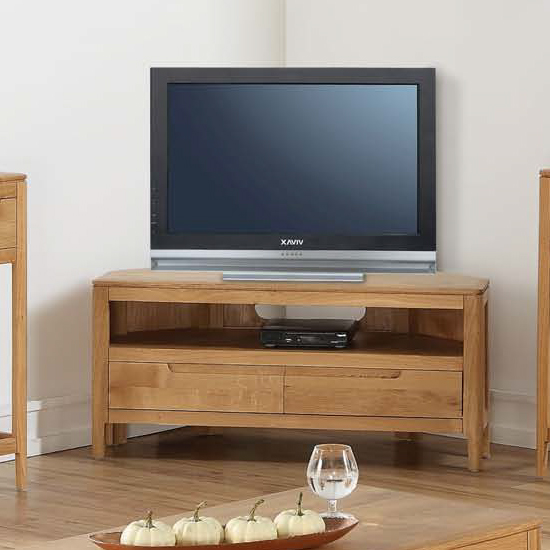 Trimble Corner TV Unit In Oak With 2 Drawers