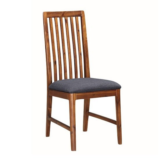 Trimble Dining Chair In Rich Acacia With Grey Fabric Seat