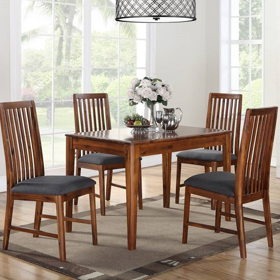 Trimble Wooden Dining Table In Acacia With Four Dining Chairs