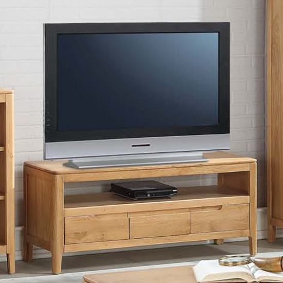 Trimble Large TV Unit In Oak With 3 Drawers