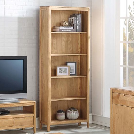 Trimble Tall Bookcase In Oak With 4 Shelves