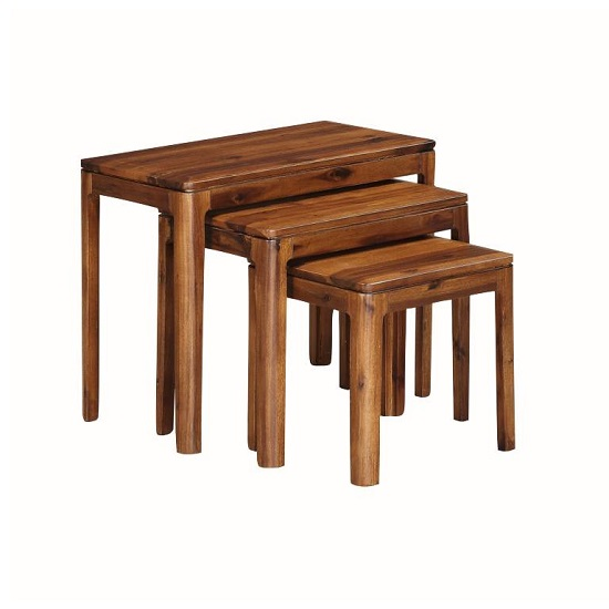 Trimble Wooden Nest Of Tables In Rich Acacia Finish