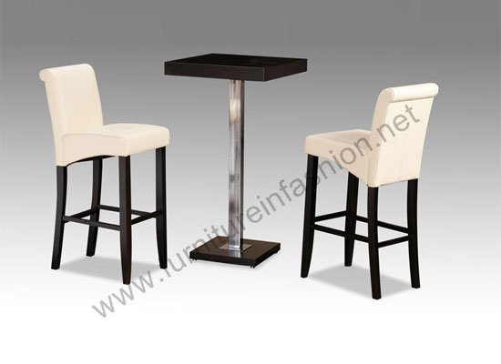 Tobago wenge bar table with 2 cream montecarlo high chairs - Table basse bar wenge ...