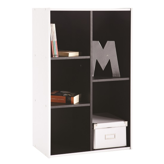 Photo of Trinity bookcase or shelving unit in white and black