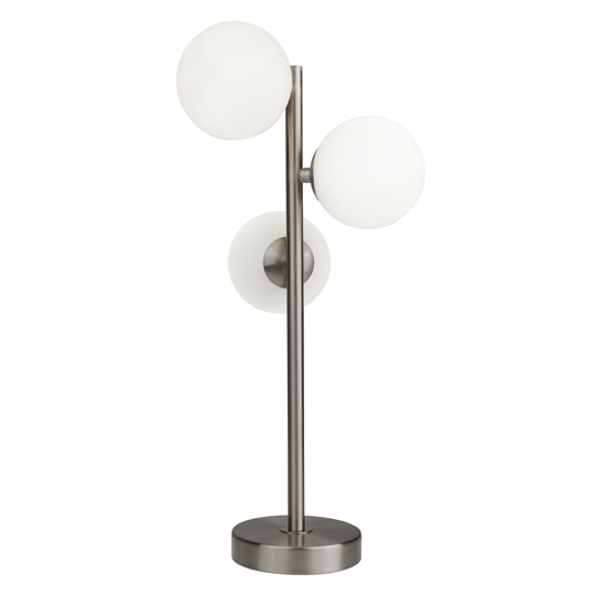Trio 3 Lights Table Lamp With Opal Ball In Satin Silver