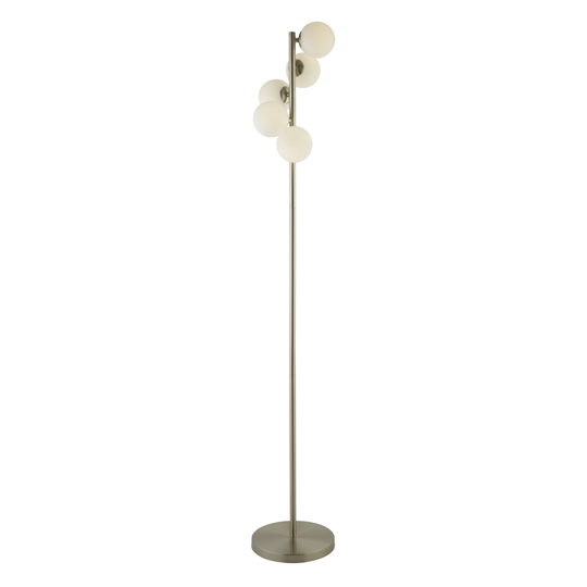 Trio 5 Lights Floor Lamp With Opal Ball In Satin Silver