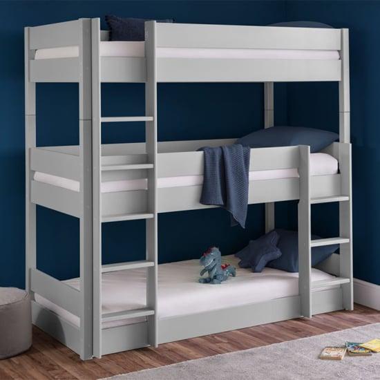 View Trio wooden bunk bed in dove grey