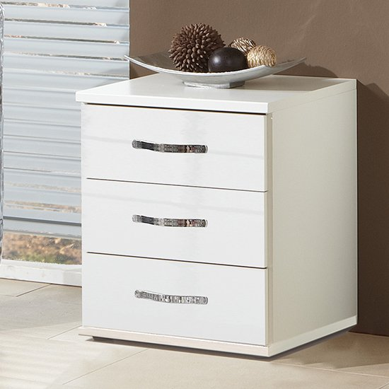 Trio Wooden Chest Of Drawers In High Gloss White With 3 Drawers