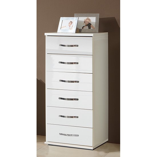 Trio Wooden Chest Of Drawers In High Gloss White With 5 Drawers