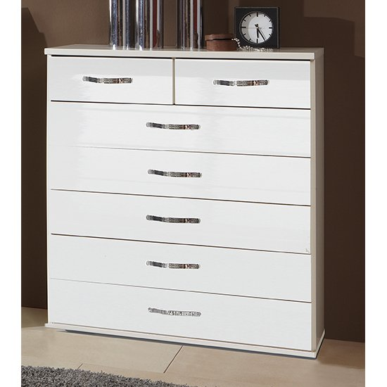 Trio Wooden Chest Of Drawers In High Gloss White With 7 Drawers