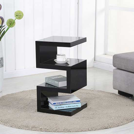 Trio Modern Side Table In Black High Gloss 27812 Furniture