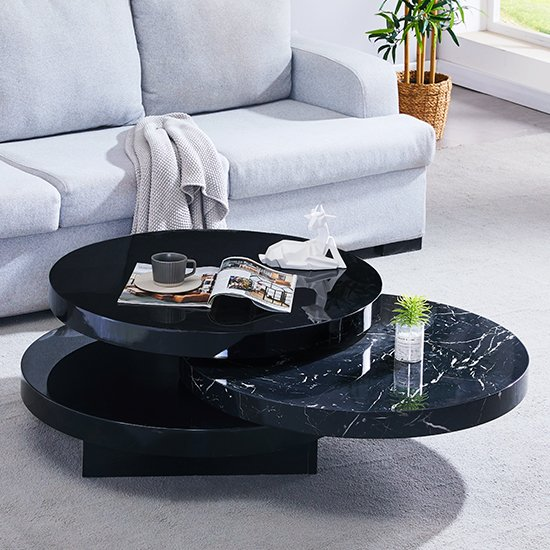 View Triplo black gloss rotating round coffee table in milano effect