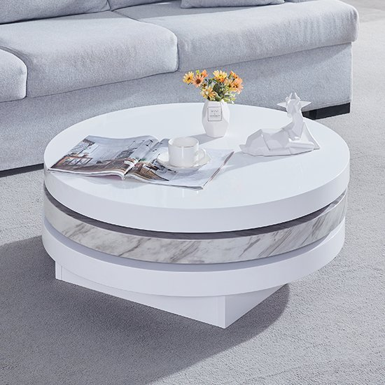 Triplo Gloss Coffee Rotating Coffee Table With Magnesia Print_2