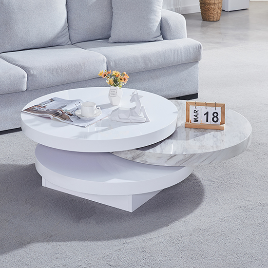 View Triplo gloss coffee rotating coffee table with magnesia print