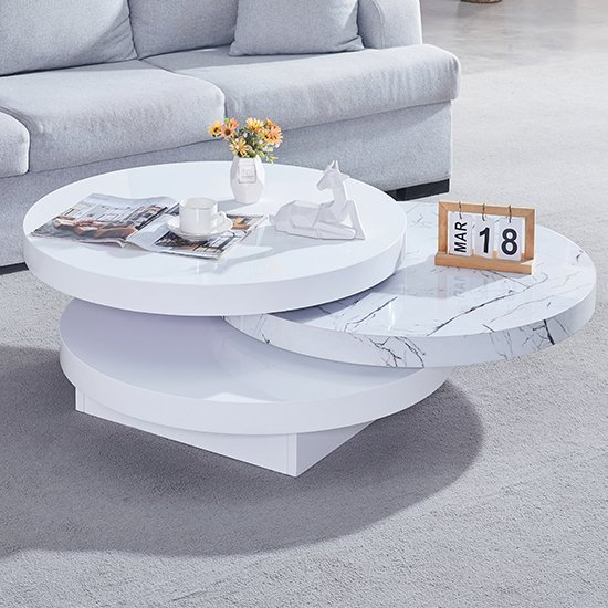 View Triplo gloss round rotating coffee table in vida marble effect
