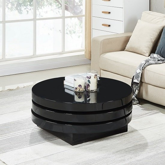 Triplo Rotating Coffee Table Round In Black High Gloss_2