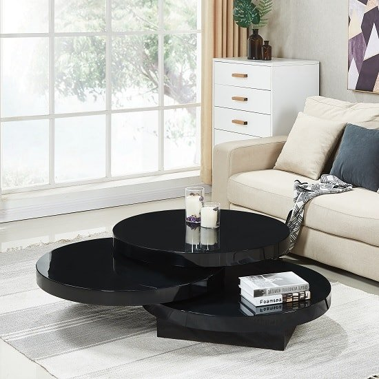 Awe Inspiring Triplo Rotating Coffee Table Round In Black High Gloss Cjindustries Chair Design For Home Cjindustriesco