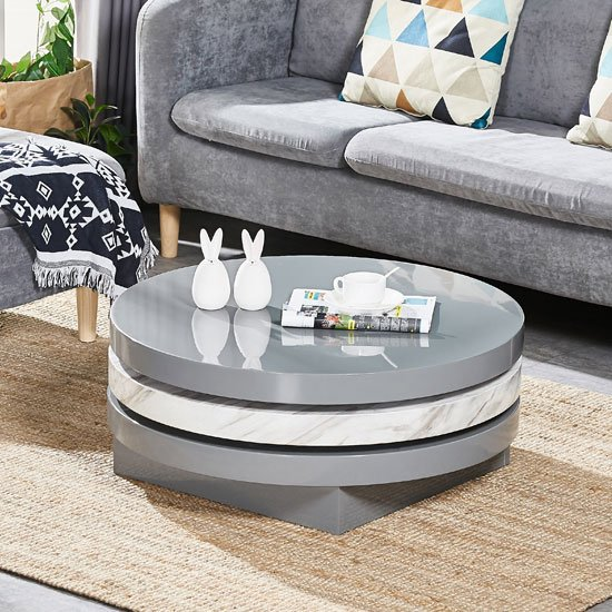 Triplo Rotating Coffee Table In Grey High Gloss Marble Effect_2