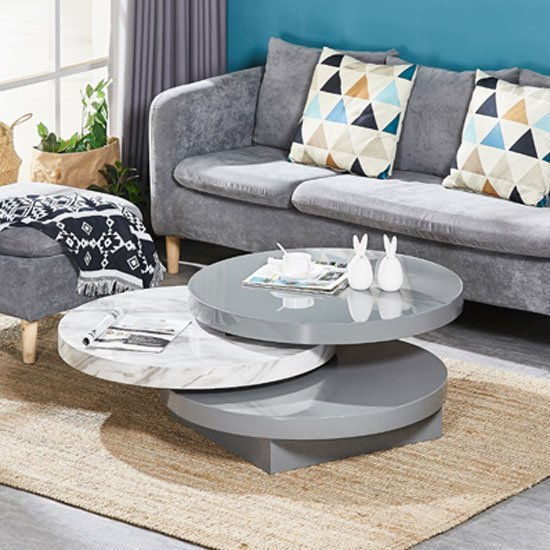 Triplo Rotating Coffee Table In Grey High Gloss Marble Effect_1